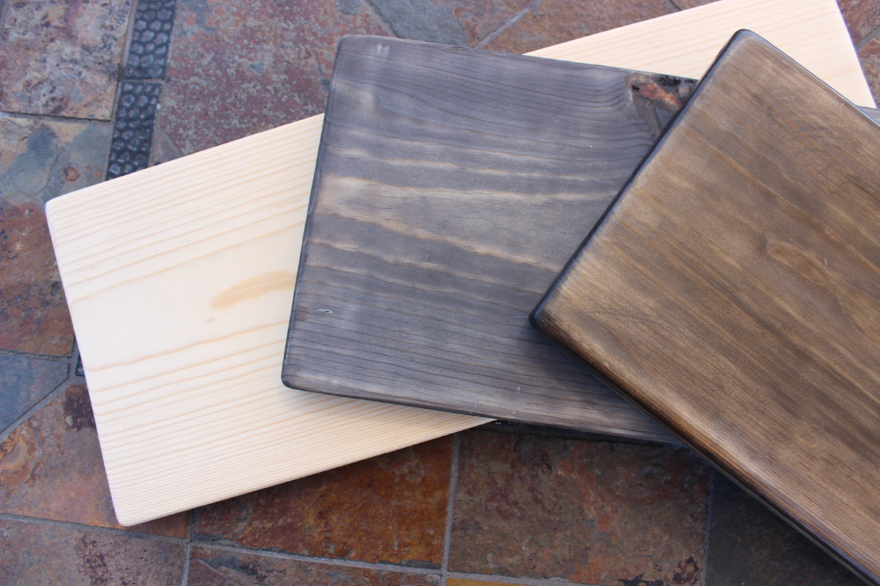 three phases of project: bare wood, wood with oxidation solution, wood with polyurethane finish