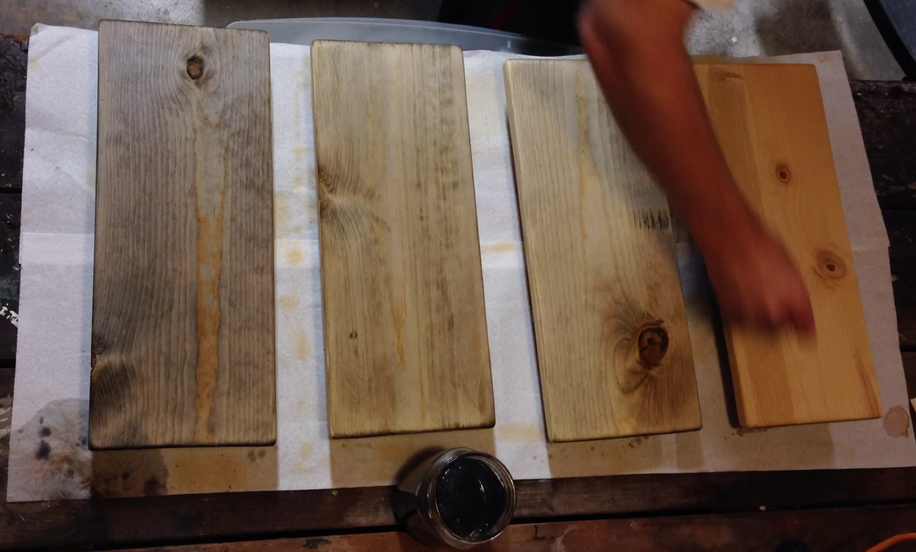 use a foam brush to apply oxidation solution to bare wood