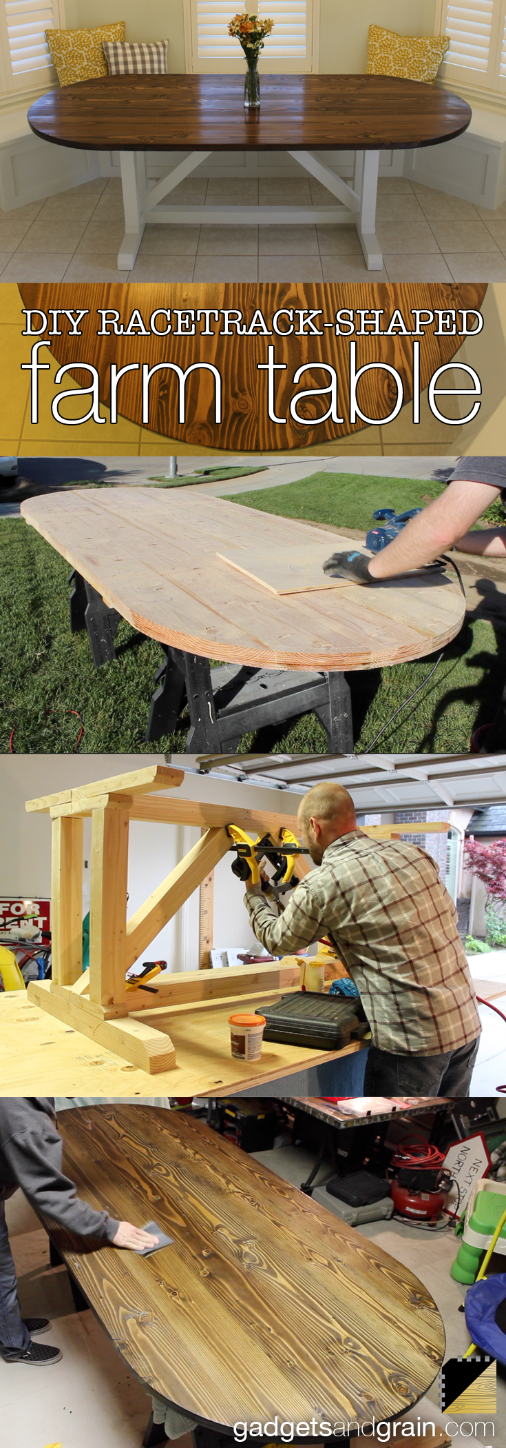 storyboard of steps to build a racetrack-shaped dining table