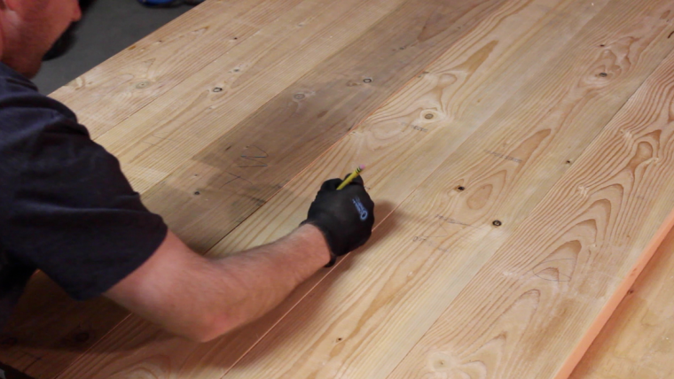 marking where to drill pocket holes to join table planks