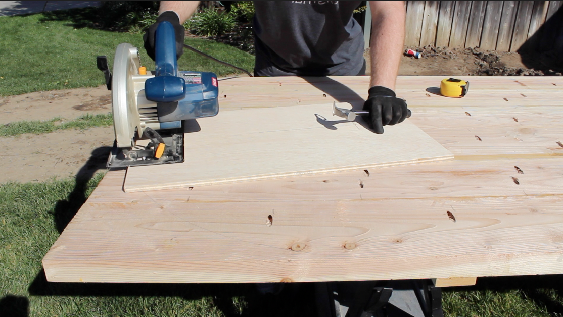 aligning the cutting jig with a circular saw