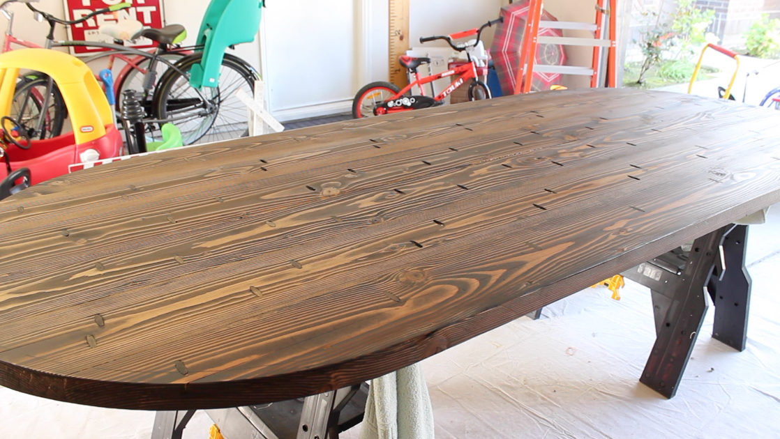table top with finished walnut-colored stain