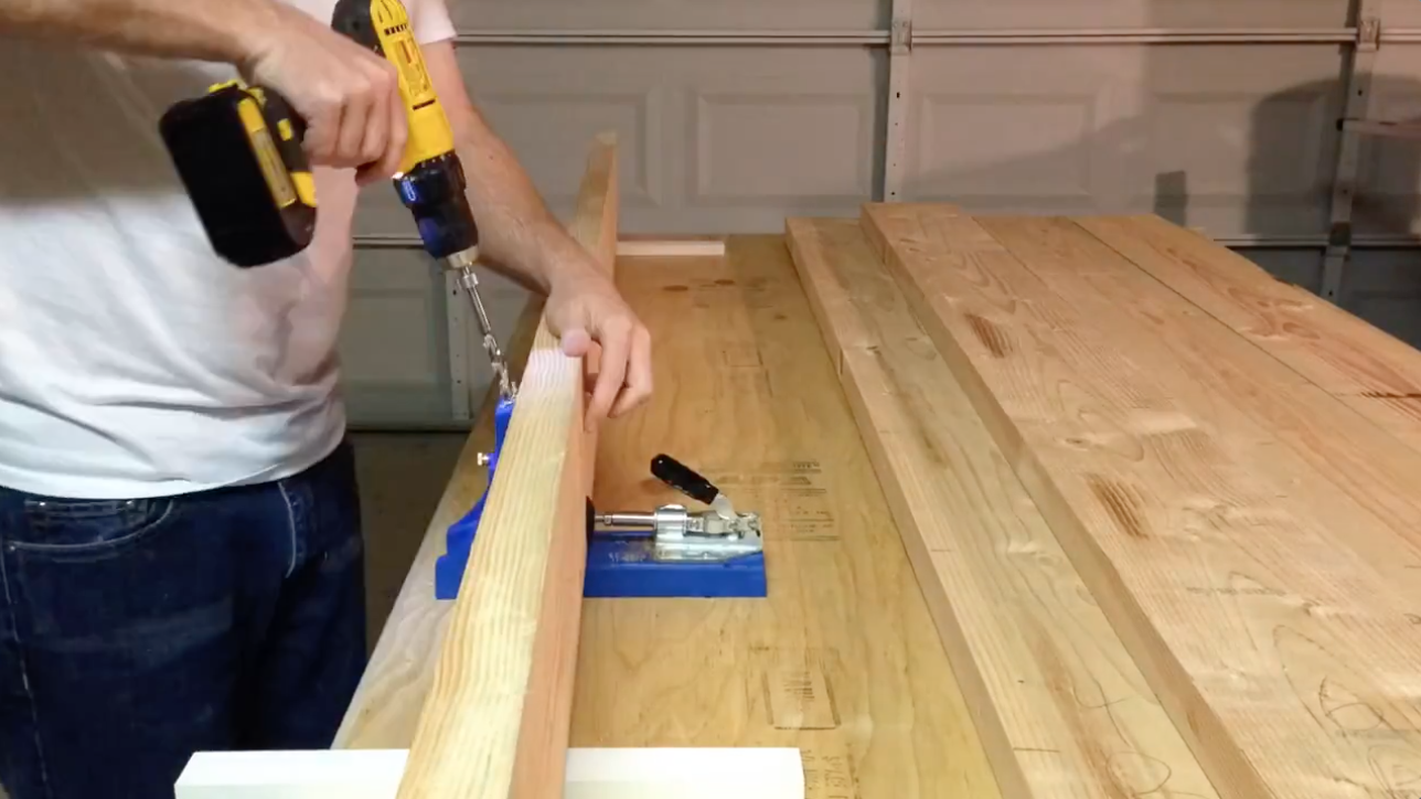 Drilling pocket holes to join table top