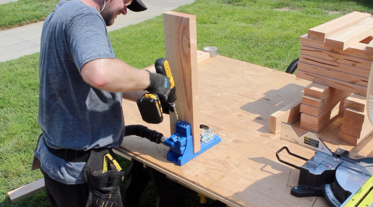 Drilling pocket holes for workbench joints