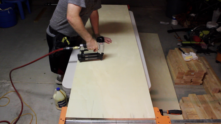 attaching bench top with brad nails