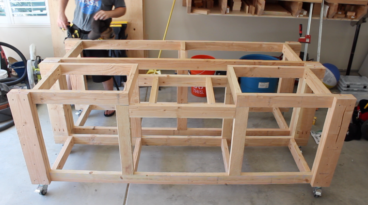 workbench frames assembled, side by side