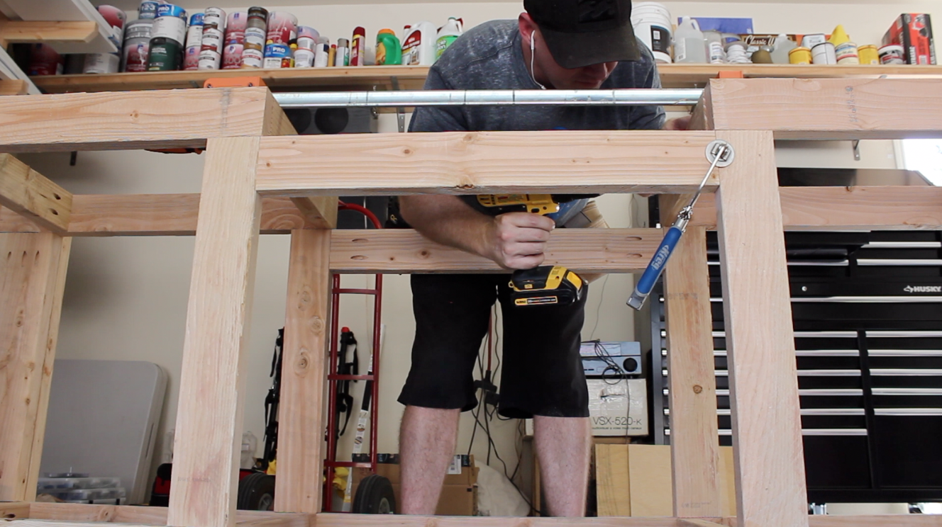 installing frame in the workbench for the miter saw insert
