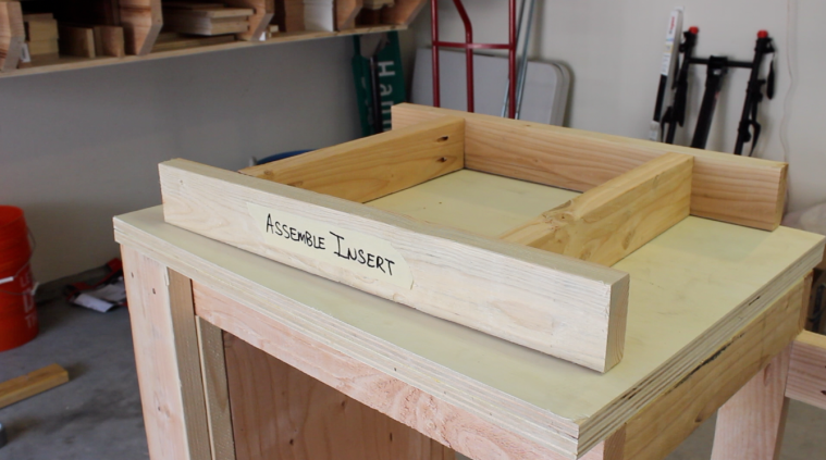 2 by 4 frame for the miter saw insert