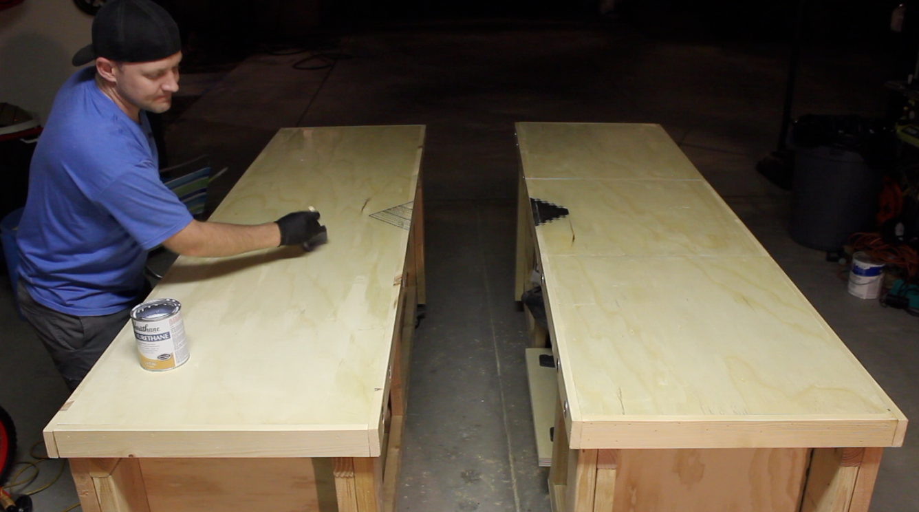 applying polyurethane finish to workbench top