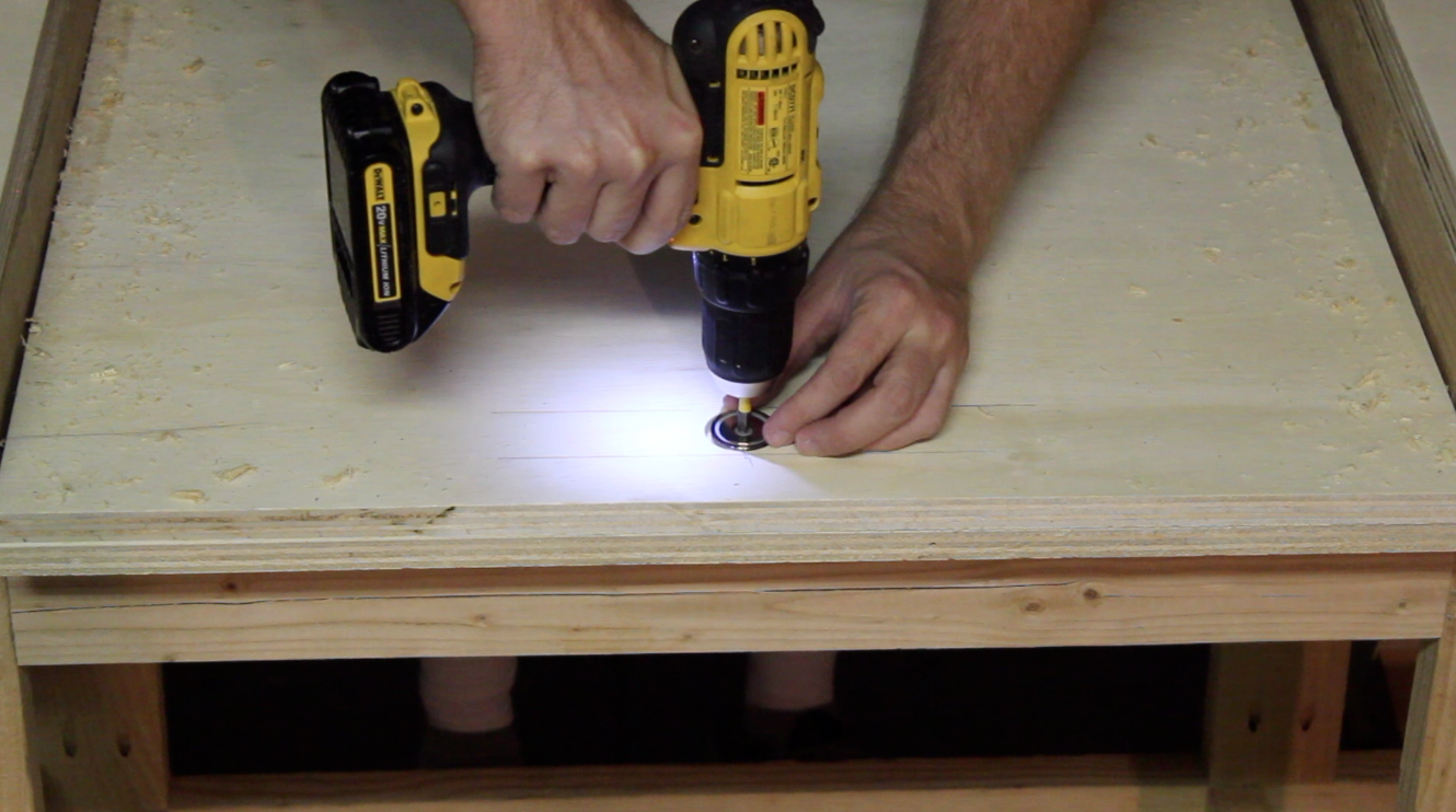 installing magnets in the bottom of the miter saw insert