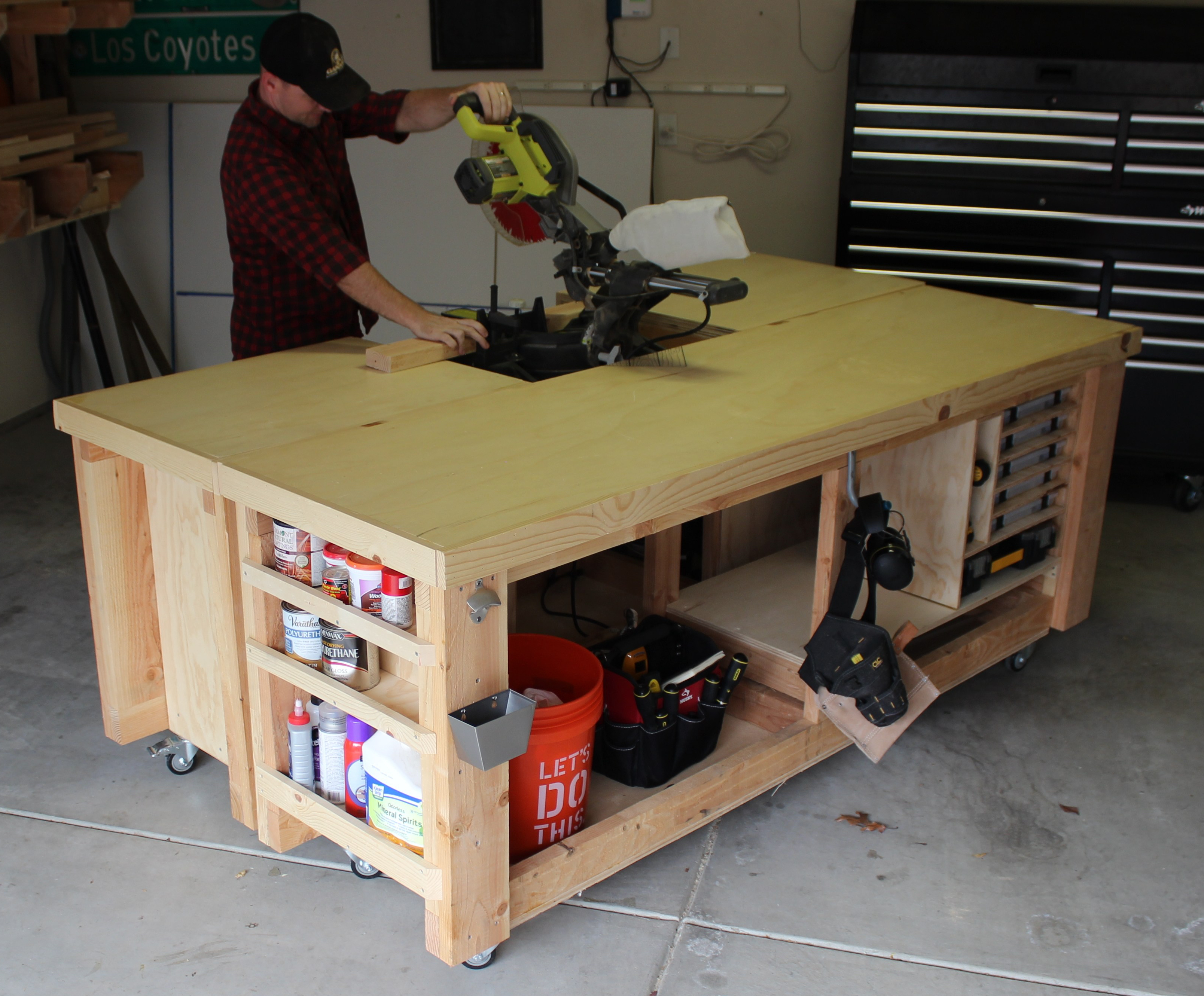 using miter saw in the workbench