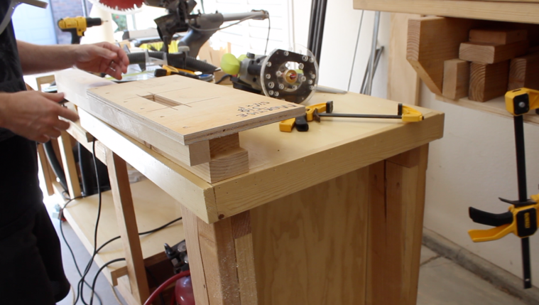 Attaching the jig to create the mortise