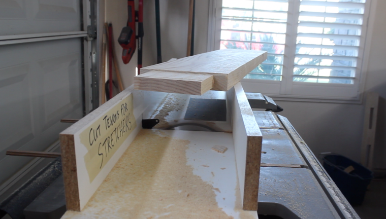 finished through tenon on table stretcher