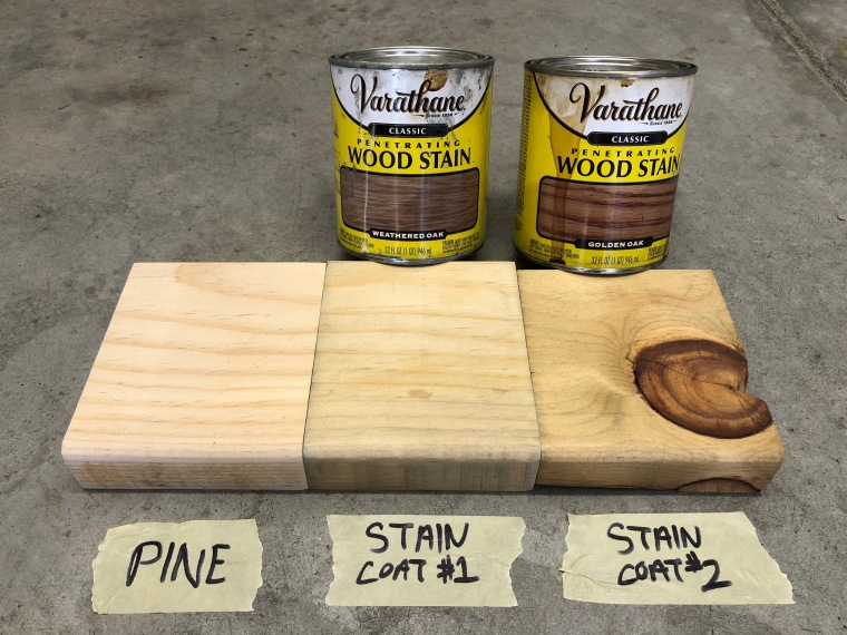 three pieces of pine wood showing the progression of applying two coats of stain