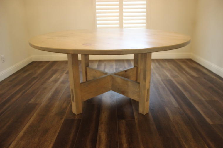 round dining table in empty room