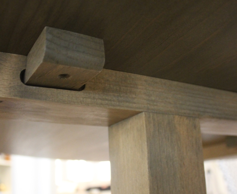 wood fastener holding the table top to the frame