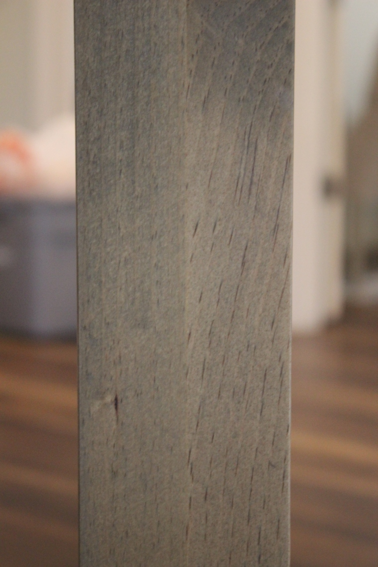 close-up of pine table leg which was laminated from two boards
