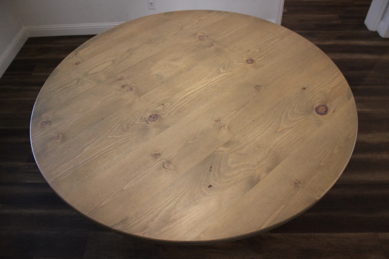 top-down view of round 68-inch table top