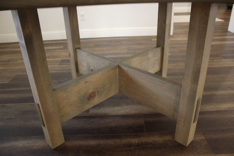 legs and bottom stretchers of dining table
