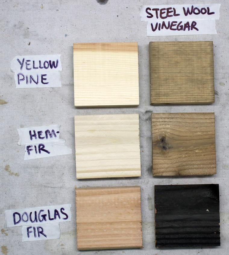 Age yellow pine, hem-fir and douglas fir wood with steel wool and vinegar