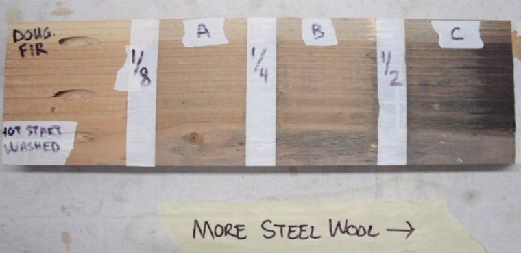Use different amounts of steel wool with vinegar to get the color you want