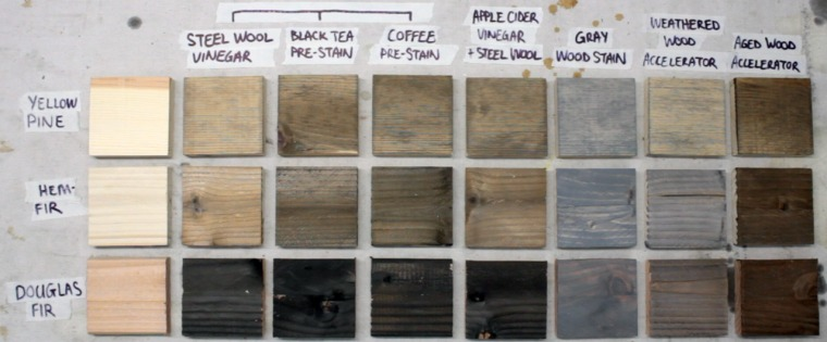 How to age wood in minutes with steel wool and vinegar oxidation solution.