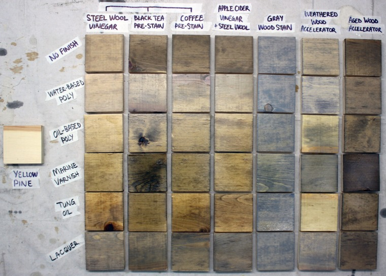 How to age yellow pine wood using oxidation solution made of steel wool and vinegar (and other staining methods)